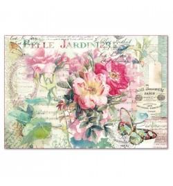 "Ricepaper 33x48cm: ""Rose & Butterfly"""
