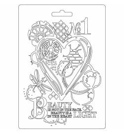 """Καλούπι εύκαμπτο 14.8x21cm (A5) """"Heart"""" - Stamperia"""