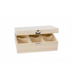 Ξύλινο Κουτί για Τσάι - 6 Χωρίσματα 22x15x8.5cm