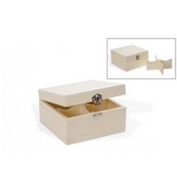 Ξύλινο Κουτί για Τσάι - 4 Χωρίσματα 16x16x9cm