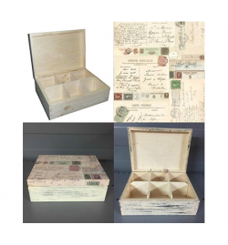 Wooden Tea Box - 6 Compartments 22x16.5x7.5cm