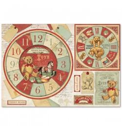 """Ricepaper 33x48cm: """"Teddy Bear watch"""""""